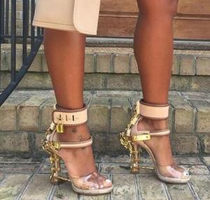 Moraima Snc Open Toe Padlock Spiked High Heels Transparent PVC Rihanna Style Crystal Sandal Rhinestones Party Wedding Shoes(China)