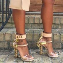 Moraima Snc Open Toe Padlock Spiked High Heels Transparent PVC Rihanna Style Crystal Sandal