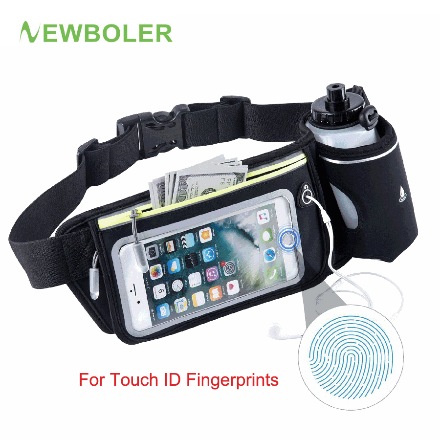Running Bag Water Bottle Fingerprint Unlock Phone Holder Touch Screen Waist Bags Men Women Sport Money Pack Trail Running Belt