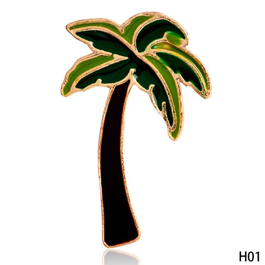 1 Pcs Palm Tree Flamingo Es Krim Es Loli Pisang Kopi Cangkir Tombol Hewan Tas Jaket Kerah Lencana Logam Bros Pins perhiasan