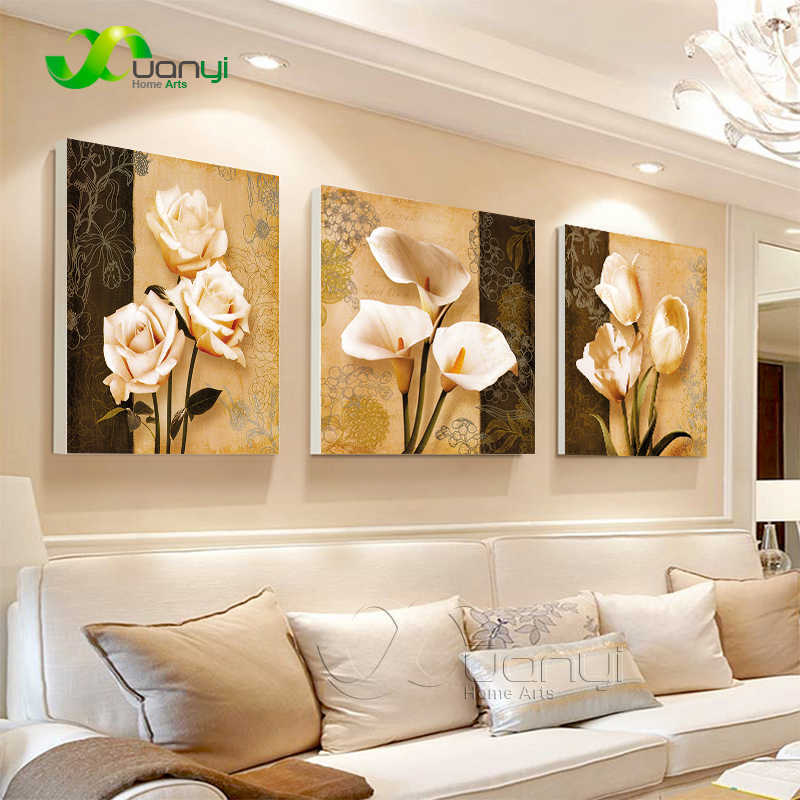 3 Piece Wall Art Flower Cuadros Decorative Canvas Paintings Print On Canvas Cuadros Wall Picture For Living Room Art Unframed