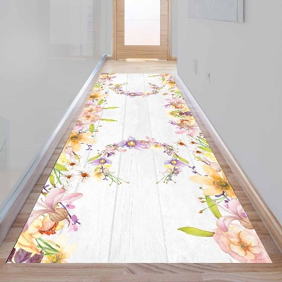 Else Gray Wood Purple Yellow Floral Flowers 3d Print Non Slip Microfiber Washable Long Runner Mat Floor Mat Rugs Hallway Carpets