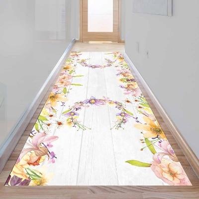 Else Gray Wood Purple Yellow Floral Flowers 3d Print Non Slip Microfiber Washable Long Runner Mat Floor Mat Rugs Hallway Carpets