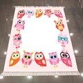 Милый розовый ковер с рисунком совы  белый пол  3d микрофибра  противоскользящий  моющийся  декоративный ковер для детской комнаты