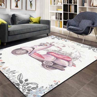 Else Gray Floor Pink Motorcycles Gray Floral 3d Print Non Slip Microfiber Living Room Decorative Modern Washable Area Rug Mat