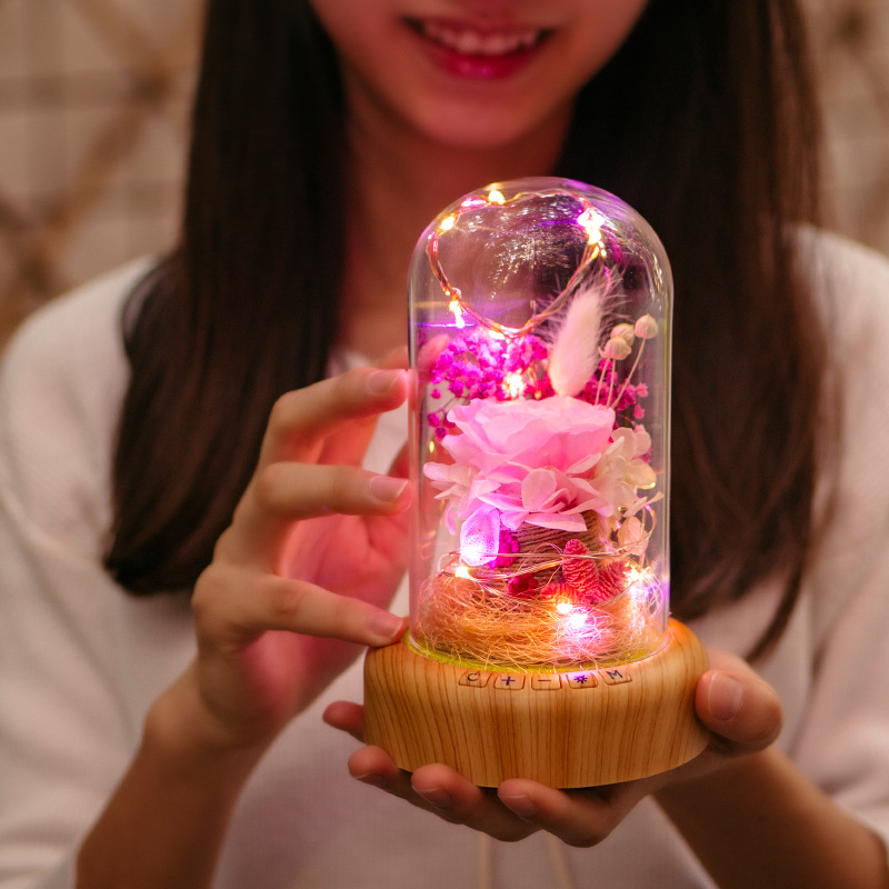 Creative Bluetooth Stereo Night Light Charging Beautiful Pink Blue Flowers Santa LED Table Lamp Home Decor Happy Birthday Gifts