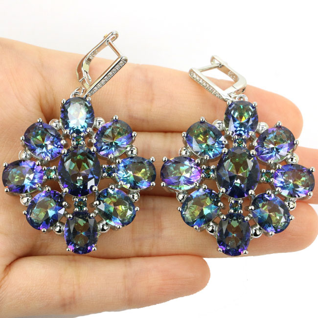 Top AAA+ Big Heavy 29g Fire Rainbow Mystic Topaz CZ Woman's Wedding Silver Earrings 52x36mm
