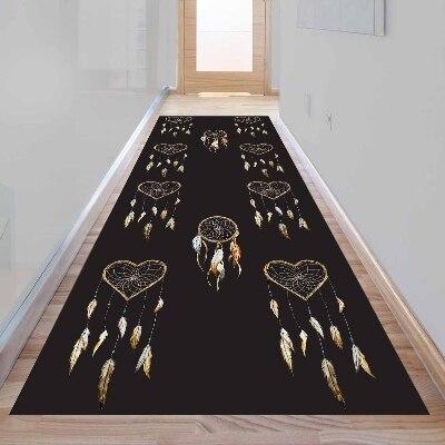 Else Aztec Bohemian Brown Bird Feather Heart 3d Print Non Slip Microfiber Washable Long Runner Mat Floor Mat Rugs Hallway Carpet