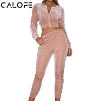 CALOFE Autumn Velvet Sport Suit Women S Running Sets Two Piece Gym Sportswear Jogging Suits Long