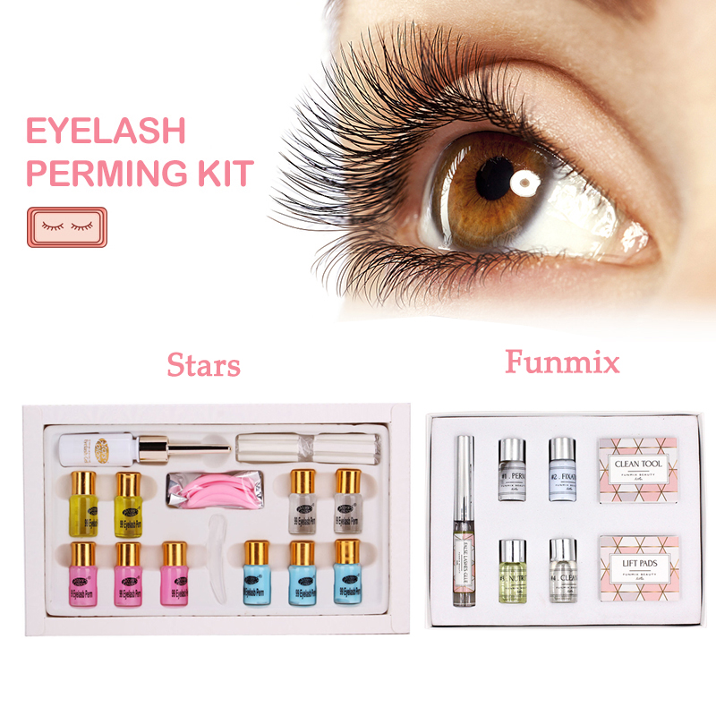 Portable 7-8 Types/Set Eyelash Curling Perming Set Curler Rod Glue Perm Lotion Lashes Lifting Kit Eyes Makeup Tool HJL2018 TSLM2