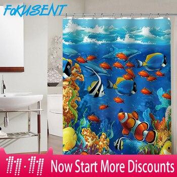 FOKUSENT Новый дизайн красочные Тропические рыбы рифы полиэстер ткань Ванная комната водостойкие домашний Декор Душ шторы >> Fokusent Houseware Store