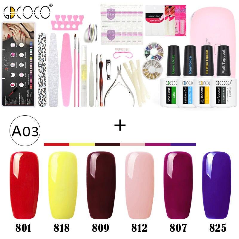 GDCOCO Full manicure nail art file soak off wips mini led lamp decoration rhinestone gel nail polish color coat topcoat kit set-in Nail Gel from Beauty & Health    3