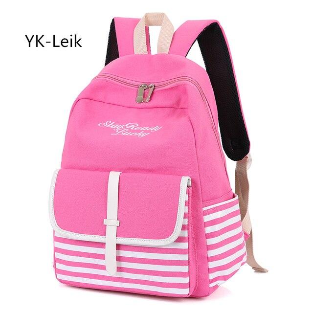73a608fed0c YK-Leik Koreaanse Mode Gestreepte Zoete Dame Rugzakken Canvas school rugzak  voor meisjes Grote capaciteit