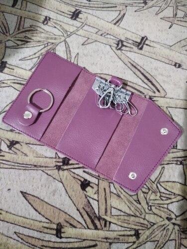 Leather Key Holder Wallet Solid Keys Organizer Bag Key Wallet Car Housekeeper Wallet credit Card Holder photo review
