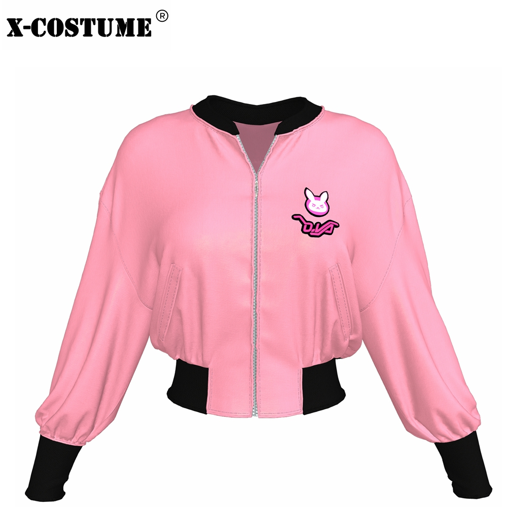 HOT Game OW DVA Baseball Jacket Pink High Quality Polyester D.VaCoat Sweatshirt Brand Sale D.Va Autumn Winter Hoodie For Women