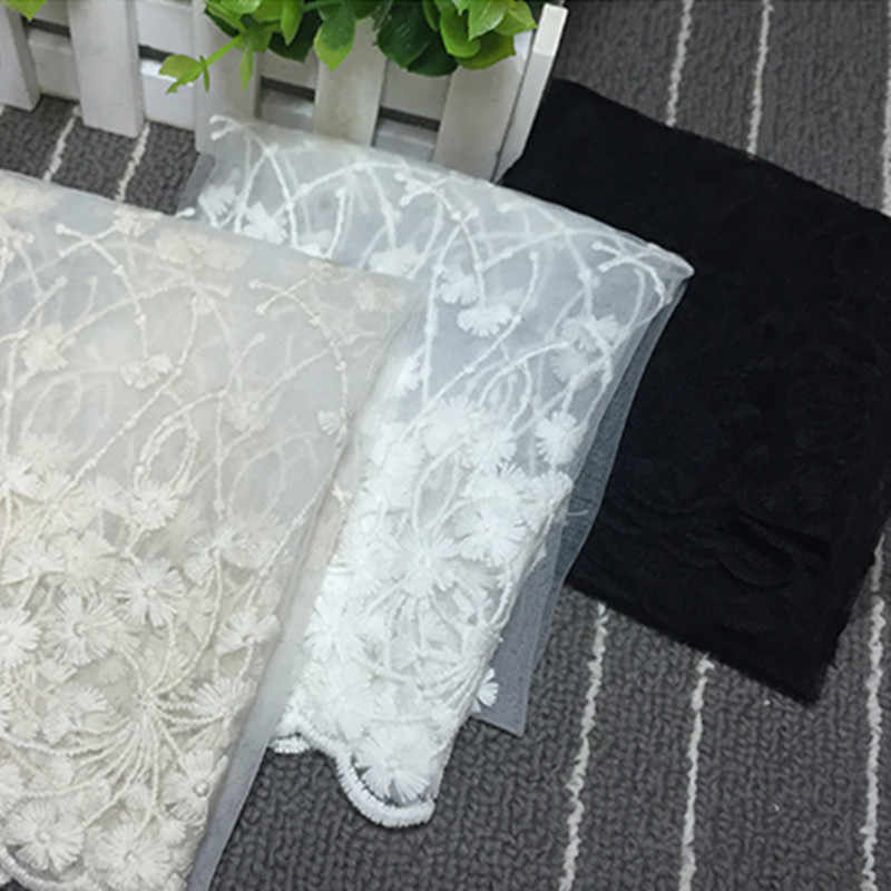 White Flower  Lace fabric Exquisite Embroidered Trim High Quality DIY Craft&Sewing Dress Clothing purified cotton Lace Fabric