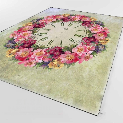 Else Pink Red Yellow Roses Clocked Time Flowers 3d Print Non Slip Microfiber Living Room Decorative Modern Washable Area Rug Mat