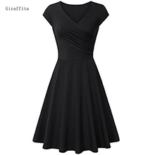 Giraffita Summer Dress Sexy Black Red Women Dress Casual Vintage Big Swing Dress Two Colors
