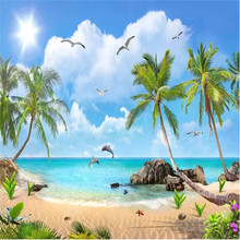 Summer beach coconut tree seascape scenery landscape TV background wall professional production wallpaper mural custom home