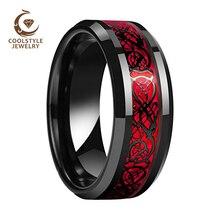 8MM Schwarz Hochzeit Band Männer Frauen Tungsten Wedding Band Ring Mit Rot Opal Und Schwarz Drachen Inlay Neuheiten