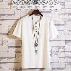 Summer Fashion Mens T Shirt Japanese Style Linen Thin T-Shirt Large Size 4XL 5XL Men's Short Sleeve T-Shirt