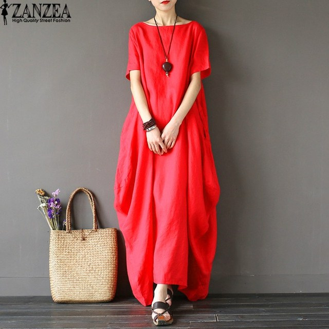 3bfb2b8ba8c2 2018 ZANZEA Womens O Neck Short Sleeve Kaftan Baggy Vestido Loose Casual  Party Cotton Linen Solid