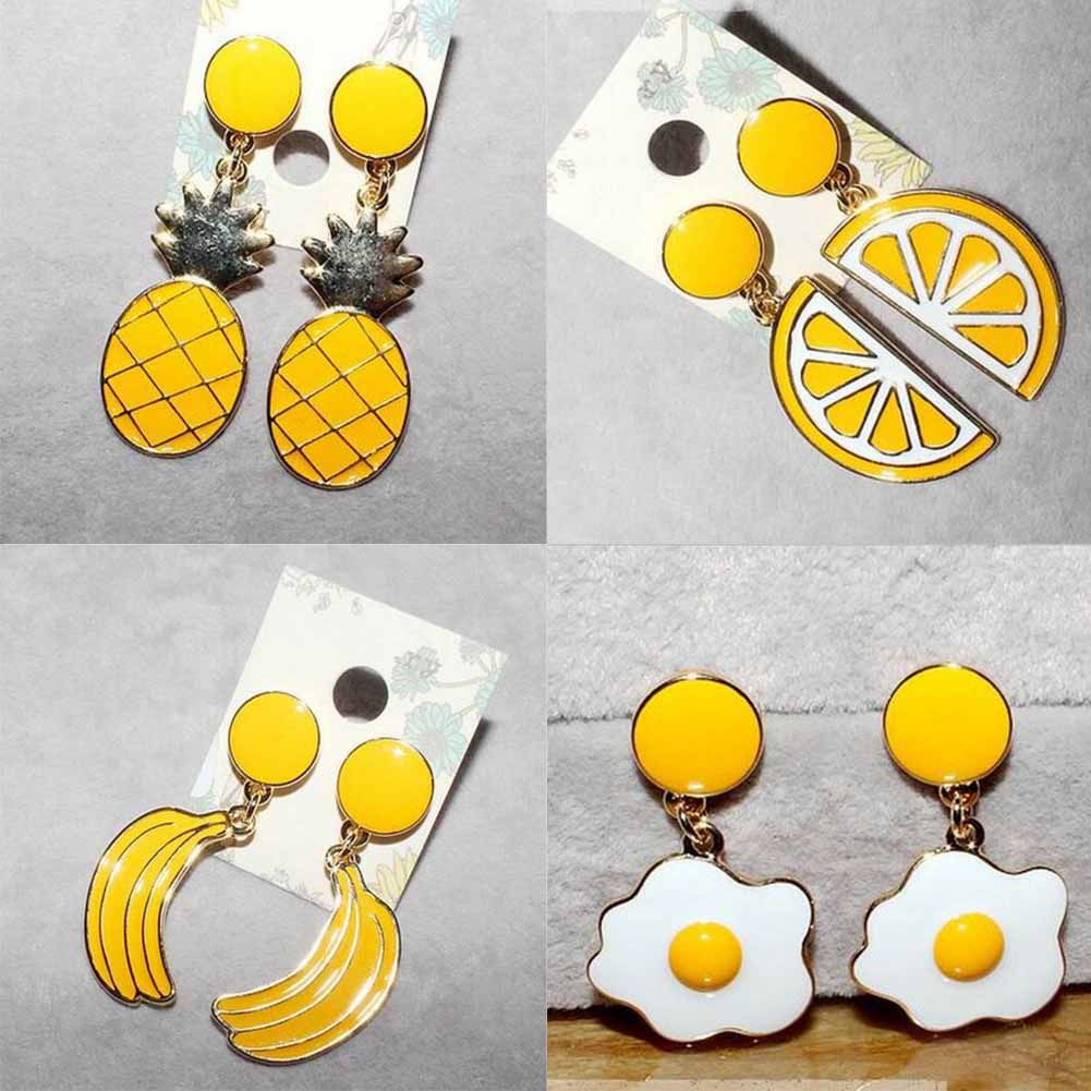 New Lovely Drop Oil Earring Women Cute Fruit Vegetable Pineapple Banana Egg Shape Dangle Earrings Funny Fashion Accessories