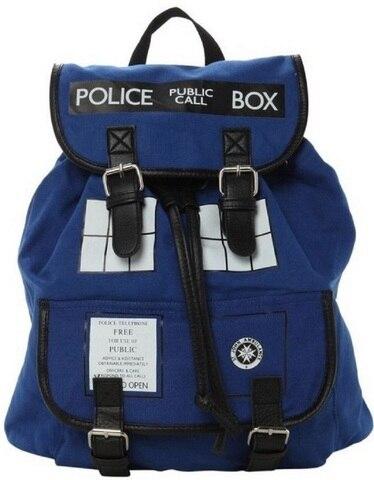 Caixa de Polícia Mochila das Mulheres Bolsa das Senhoras Novo Design Doutor dr Who Tardis Mochila Mochila Meninas Alças Duplas Mochila