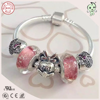 Very Nice Girl Baby Silver Jewelry Gift 925 Silver Snake Bracelet With Silver Cartoon Mouse Charm For Children