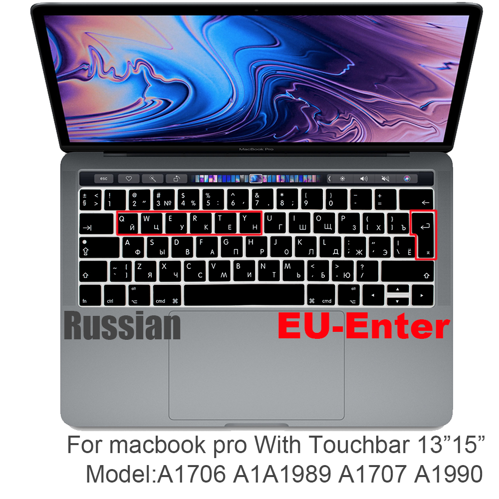 Russian EU&US-Enter  Keyboard Cover Protector For Macbook Pro 13Air 11 12 15 Touch Bar Model A1706/A1466 A1707/A1990/A1398/A1534