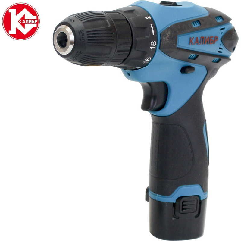 Kalibr DA-12-2+ Electric Screwdriver Power Tools Dual Speed Cordless Drill Wireless Mini Electric Drill Rechargeable Battery woodworking hole electric drill bit 6pcs