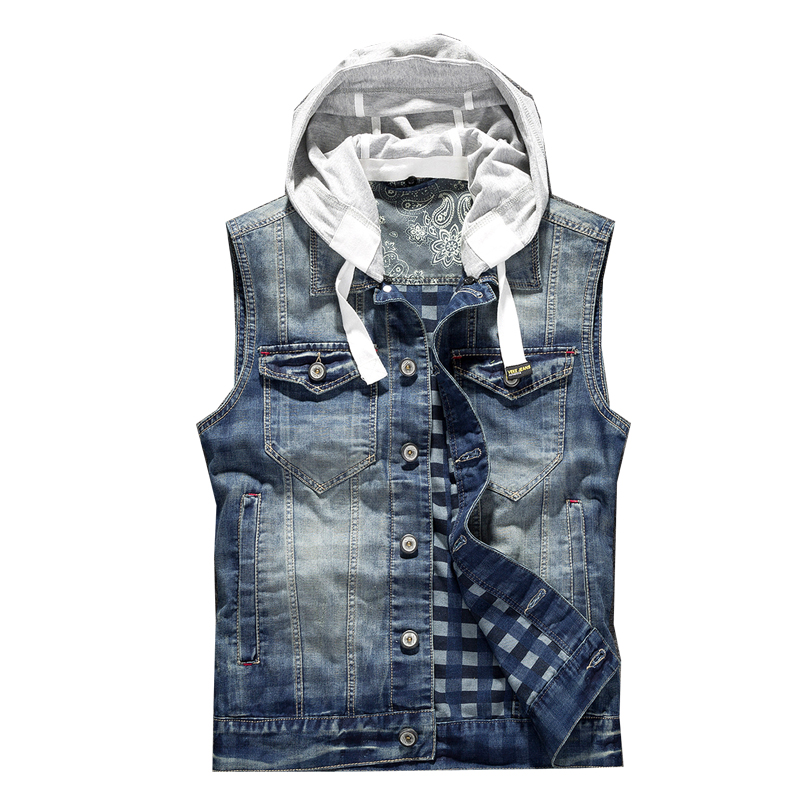 Ripped Jean Jacket Mens Denim Vest Jeans Waistcoat Men Cowboy Brand Sleeveless Jacket Male Tank Top Hooded Vest S-3XL italian style fashion men s jeans shorts high quality vintage retro designer classical short ripped jeans brand denim shorts men