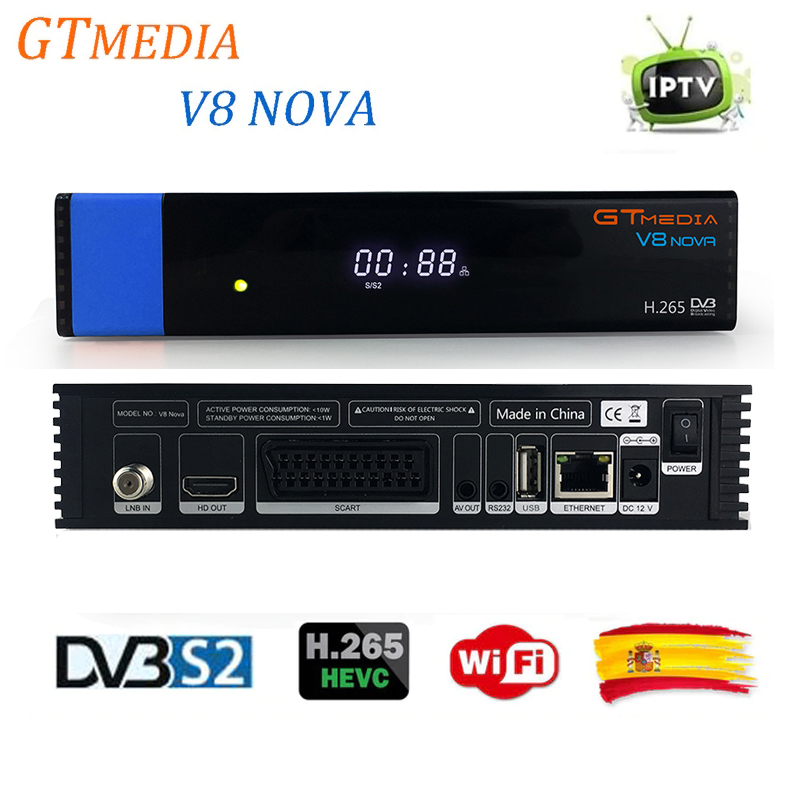 New Arrival GTMedia V8 Nova Blue DVB-S2 Satellite Receiver Asia Southafrica rca Support H.265 IPTV Yotube Cccam Built WiFi Set asia blue card 100g