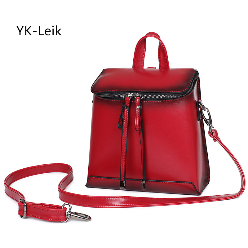 YK Leik Retro Academy style ladies backpacks vintage patent leather backpack women school bags mochila feminina