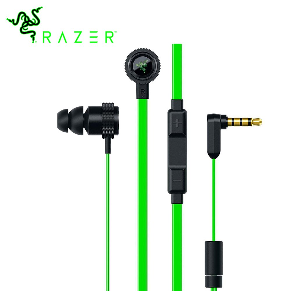 NEW Razer Hammerhead Pro V2 Earphone Flat Style Cables with 3.5mm Jack and Volume Controls with Mic for Mobile Gaming Earphones