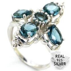 Женское кольцо с голубым топазом London, Стерлинговое Серебро 925 пробы, 6,5 г, 33x22мм