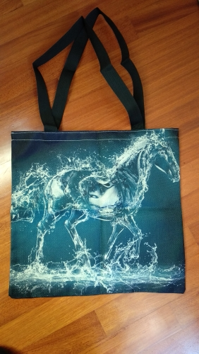 Shopping bag Double-sided printing Horse Printed Linen Women Large Shopping Bag Tote Sholder Bag for Ladies Linen Handbag Bag photo review