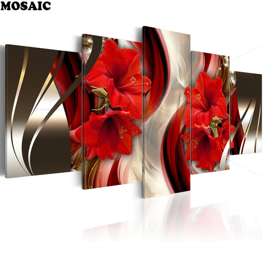 5 pcs 5d Diy Diamond Painting Flower lily Diamond Embroidery Cross Stitch Wall Stick Diamond Mosaic