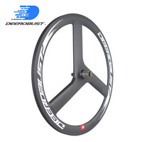 700C 50mm Carbon Clincher 3 Spoke Tri Spokes Rear Wheel for Road/ Fixed Gear/ Fixie/ Single Speed 3k UD 12K Matte Glossy