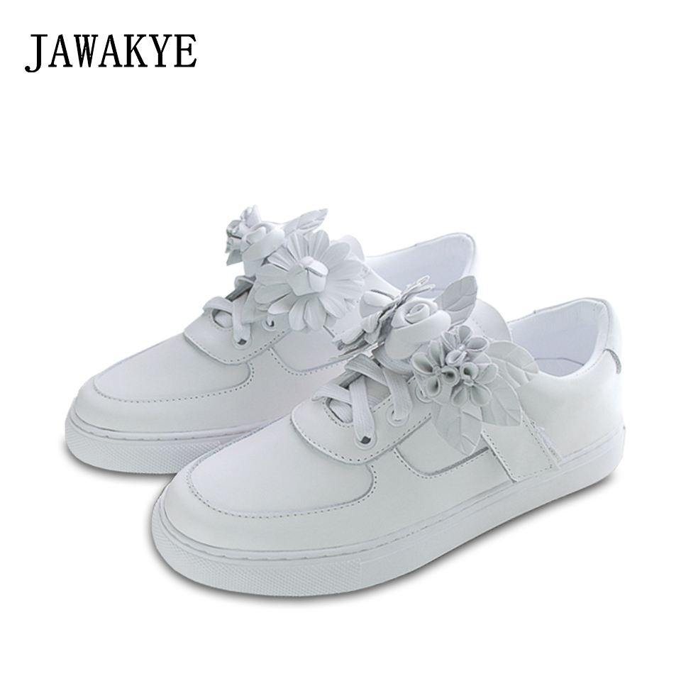 Summer New JAWAKYE designer Shoes Woman Platform Women Sneakers Flowers decor Lace-up Flat Shoes White Autumn lady Casual Shoes doratasia flowers embroidery women shoes sneakers lace up fashion flat platform ladies shoes woman high quality