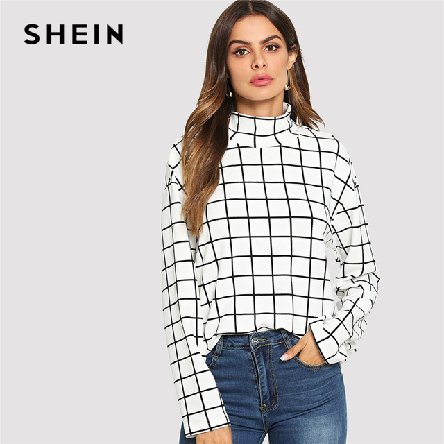 b84dea38f SHEIN Black and White High Neck Plaid Grid Print Blouse Elegant Long Sleeve  Highstreet Blouses Women