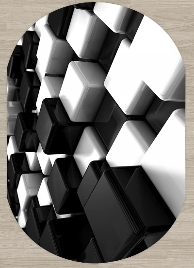 Else Black White Cubes Boxes Abstract 3d Pattern Print Non Slip Microfiber Living Room Modern Oval Washable Area Rug Carpet