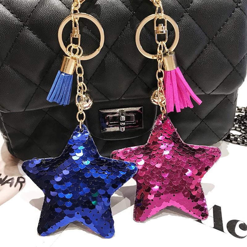 Doreen Box Polyester Keychain & Keyring Pentagram Star Multicolor Tassel PVC Paillette Sequin 15cm(5 7/8