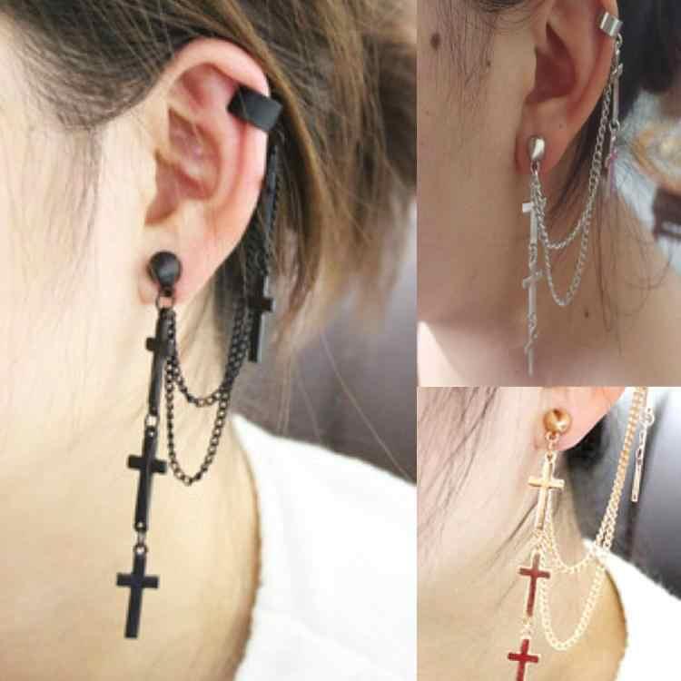 26240c84e0dc Joyería de moda estilo gótico Punk Cruz borla cadenas oreja manguito  mujeres oreja tachuelas