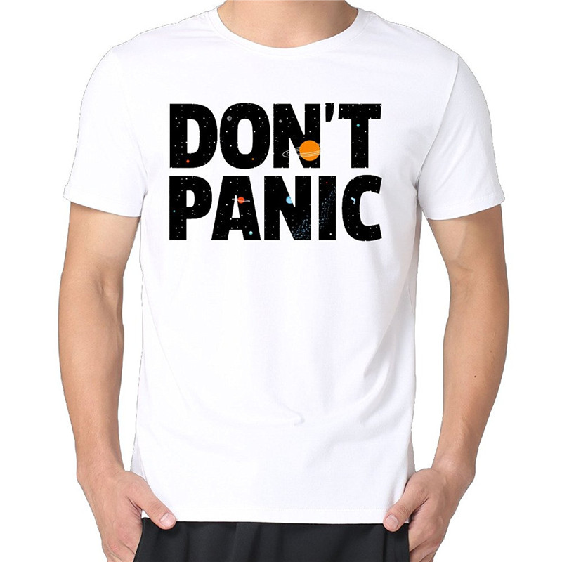 Cheap T Shirts Short Sleeve DonT Panic Casual Crew Neck Tee Shirts For Men