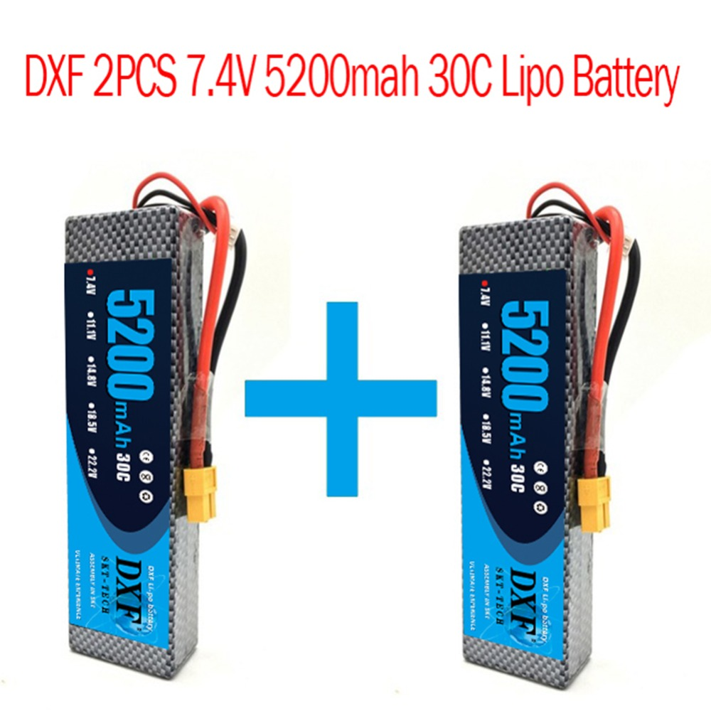 2pcs DXF 7 4V 5200mah Lipo Battery Hardcase 2S 30C 1 10 1 8 Scale For