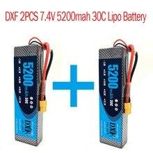 2 pcs DXF 7.4 V 5200 mah Lipo batterie Hardcase 2 S 30C 1/10 1/8 échelle pour Traxxas Slash 4×4 RC voitures étui rigide pièces 1:8 1:10 RC voiture