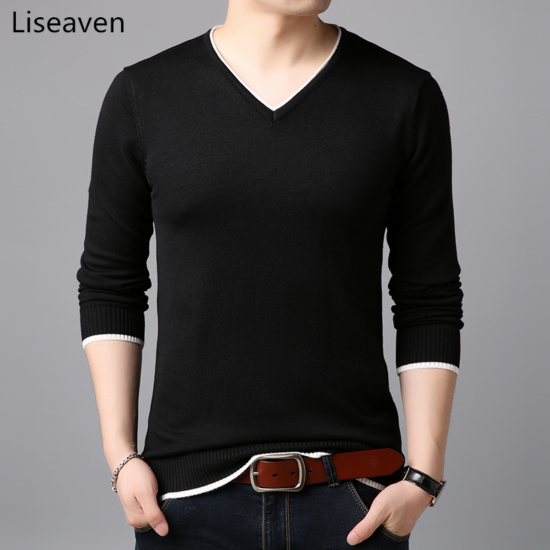 Liseaven Sweater Men Solid Color Pullover Sweaters Men's Clothing V-Neck Full Sleeve Pullovers Mens Tops