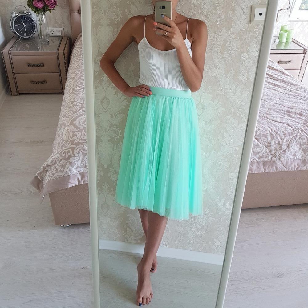 Мятная тюлевая юбка с Алиэкспресс