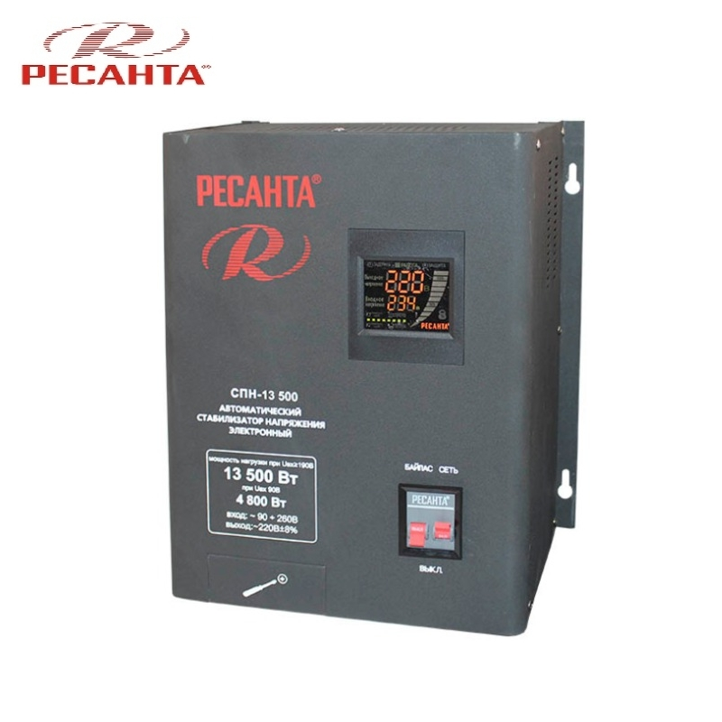 Single phase voltage stabilizer RESANTA SPN 13500 Relay type Voltage regulator Monophase Mains stabilizer Surge protect стоимость